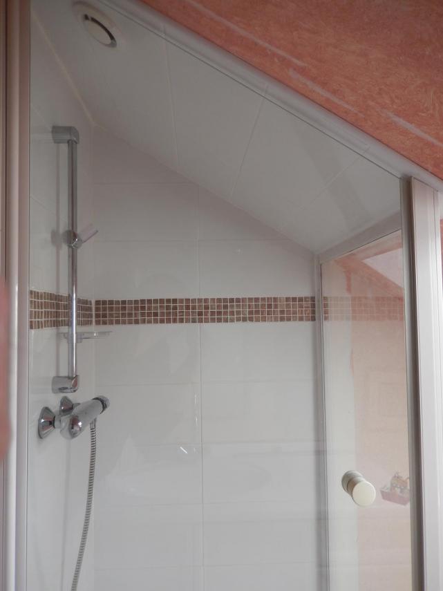 Vue de l'intérieur de la douche sous pente